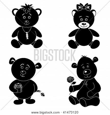 Set cartoon teddy bears, silhouette
