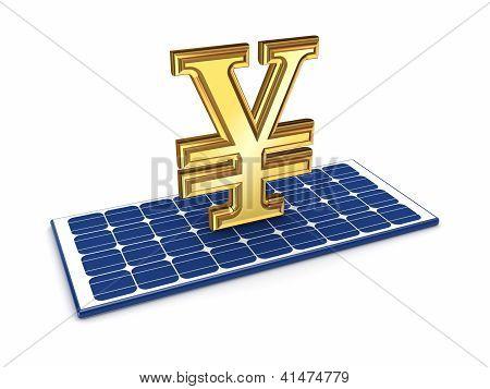 Yen symbol on solar battery.