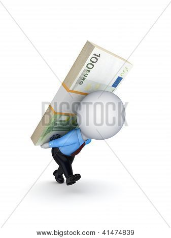 Small person with a pack of euro on the back.