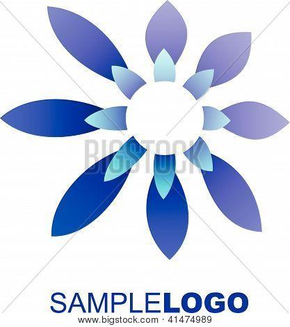 Contemporary blue flower logo