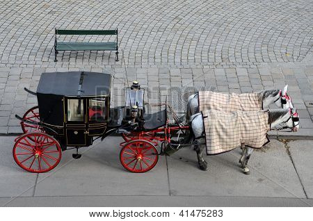 Black and red tourist horse carriage - Vienna Austria