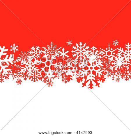 Fondo rojo de los copos de nieve