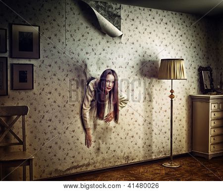 angry woman climbs through the wall into the room (photo and hand-drawing elements compilation. texture and grain add)