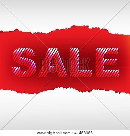 Red Torn Sale Poster With Gradient Mesh, Isolated On White Background, Vector Illustration