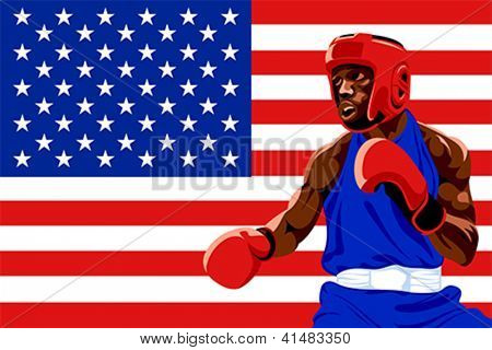 Amateur boxer in protective uniform posing over USA flag