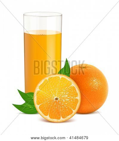 Vector illustration of fresh orange with leaves and glass with juice. Eps10