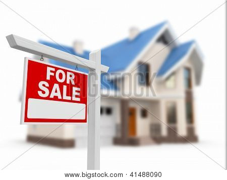 Home for Sale sign on white background. 3d