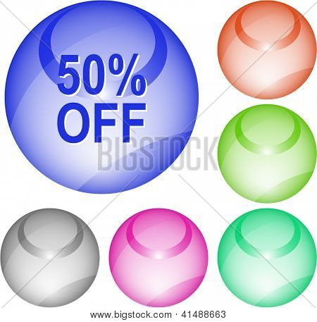 50% OFF. Interface element. Raster illustration.