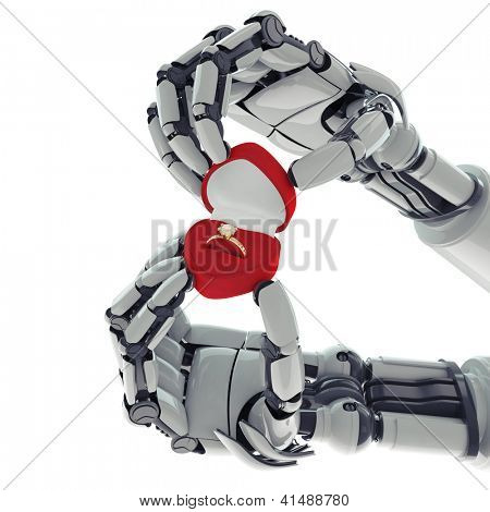 Isolated robotic arms with ring box on white background