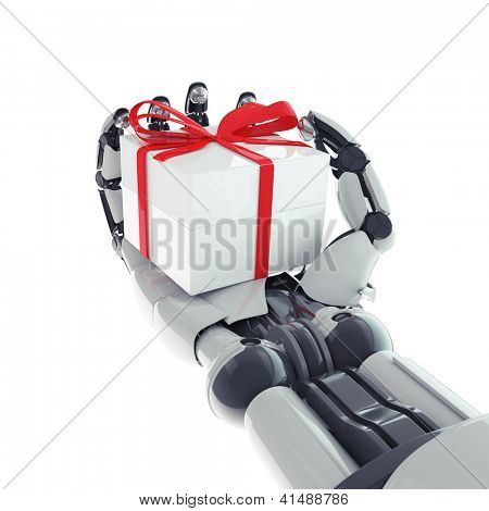 Isolated robotic arm with gift on white background
