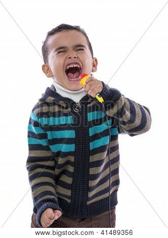 Little Boy Singing Loudly