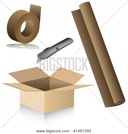 Una imagen de reubicación suministros de embalaje.