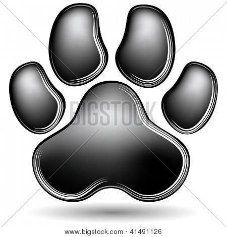 An image of a scratchboard paw print.