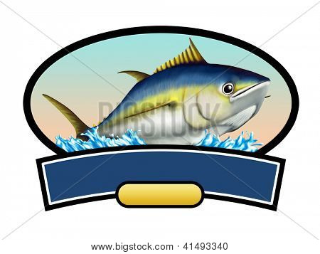 Tuna fish label, copy space available to insert your text. Digital illustration.