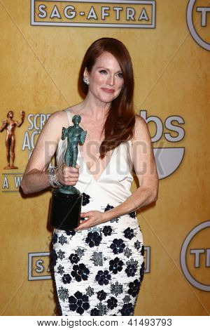 LOS ANGELES - JAN 27:  Julianne Moore pose in the press room at the 2013 Screen Actor's Guild Awards at the Shrine Auditorium on January 27, 2013 in Los Angeles, CA
