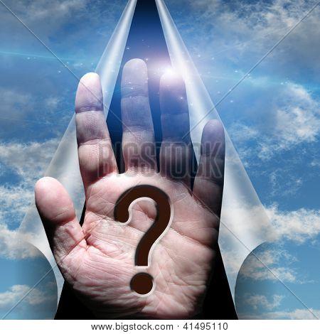 Ponto de interrogação na palma mão