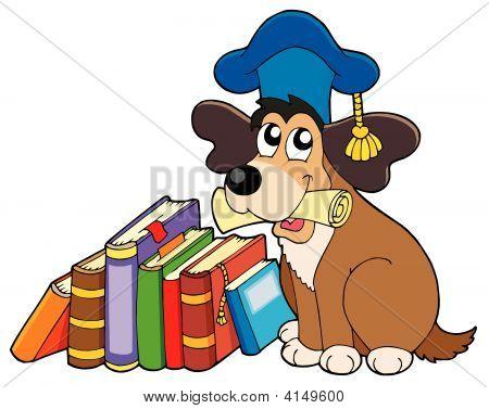 Dog Teacher With Books