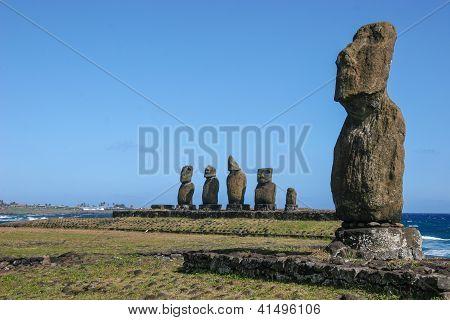 Several moai at Tahai on Easter Island