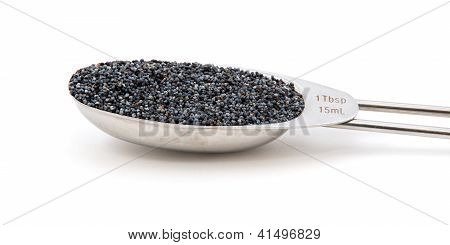 Poppy Seeds Measured In A Metal Tablespoon