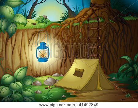Illustration of camping in the jungle