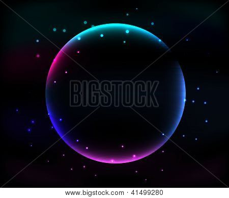 Glowing Abstract Sphere On Black Background With Stars
