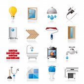 stock photo of roller door  - Construction and home renovation icons  - JPG