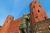 foto of turin  - Julius Caesar monument at Palatine towers in Turin - JPG