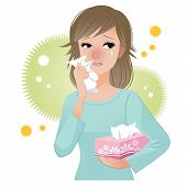 picture of hay fever  - Woman with watery eyes suffering from pollen allergies - JPG