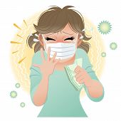 pic of hay fever  - Woman suffering from pollen allergies sneezes - JPG