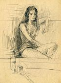 picture of pubescent  - A hand drawn image of an young woman - JPG