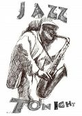 stock photo of sax  - A hand drawn illustration of an musician playing the sax - JPG
