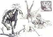 foto of storyboard  - A hand drawn illustration of supernatural superheros  - JPG