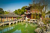 stock photo of red roof  - Traditional pavilions in Yuyuan Gardens Shanghai China - JPG