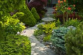 stock photo of planters  - Natural flagstone path landscaping in home garden - JPG