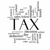 pic of payroll  - Tax Word Cloud Concept in Black and White with great terms such as rate federal state income codes and more - JPG