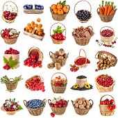 Fresh tasty healthy fruits, vegetables, berries, nuts in a wicker basket ,collection set  isolated o