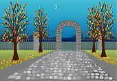 pic of fornication  - Autumn park with stone alley and arc - JPG