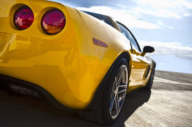 stock photo of muscle-car  - Rear detail of an American muscle car ready to take on the road - JPG