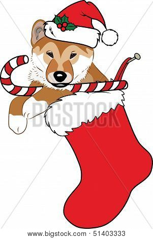 Christmas Stocking with Puppy