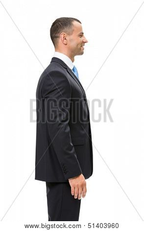 Half-length profile of businessman, isolated. Concept of leadership and success