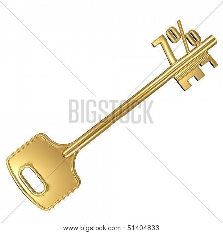 3d golden shiny key with interest rate 7% percent on it