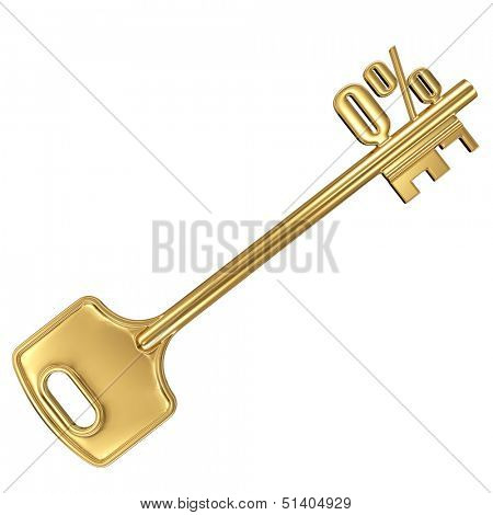 3d golden shiny key with interest rate 0% percent on it