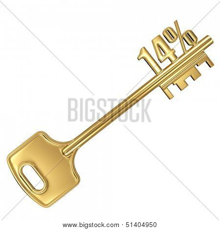 3d golden shiny key with interest rate 14% percent on it