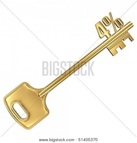 3d golden shiny key with interest rate 4% percent on it