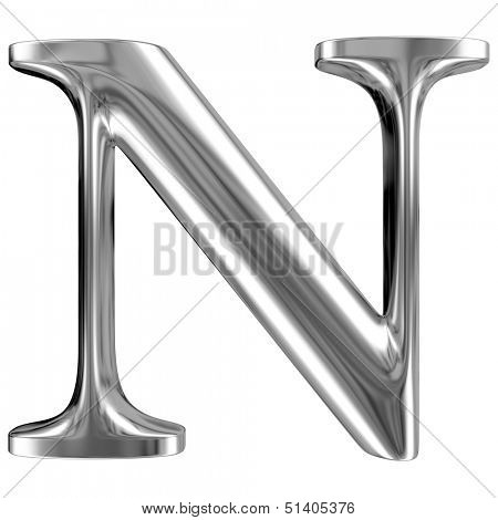 Metal Letter N from chrome solid alphabet.