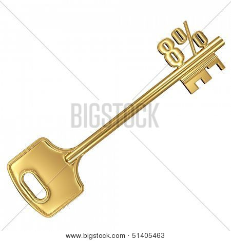 3d golden shiny key with interest rate 8% percent on it