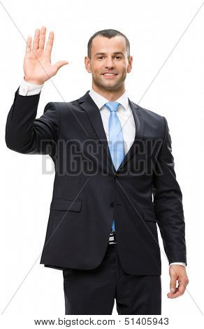 Half-length portrait of businessman waving hand, isolated on white. Concept of leadership and success
