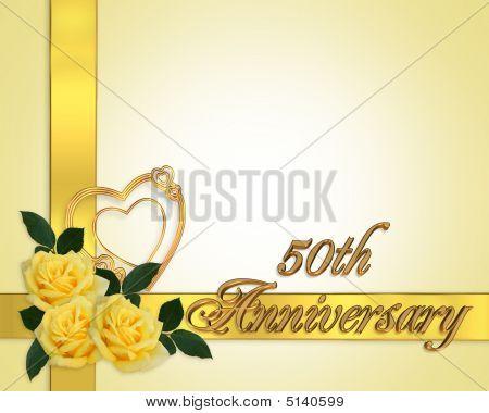 50Th Anniversary Yellow Roses Invitation