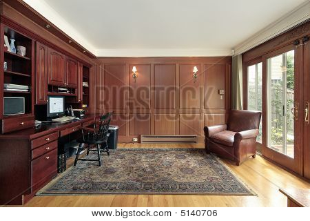 Cherry Wood Paneled Library