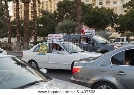 Cab Drivers On Strike In Las Vegas, Nv On March 13, 2013
